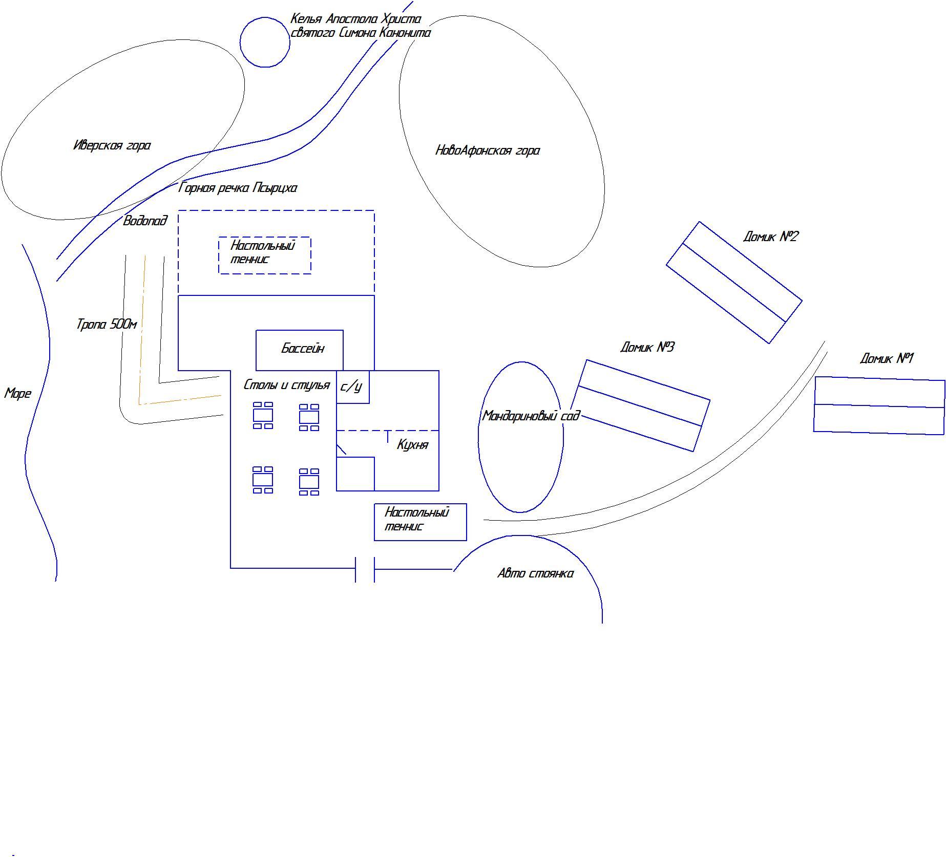 Схема отеля - домики, территория, главный корпус 1 этаж